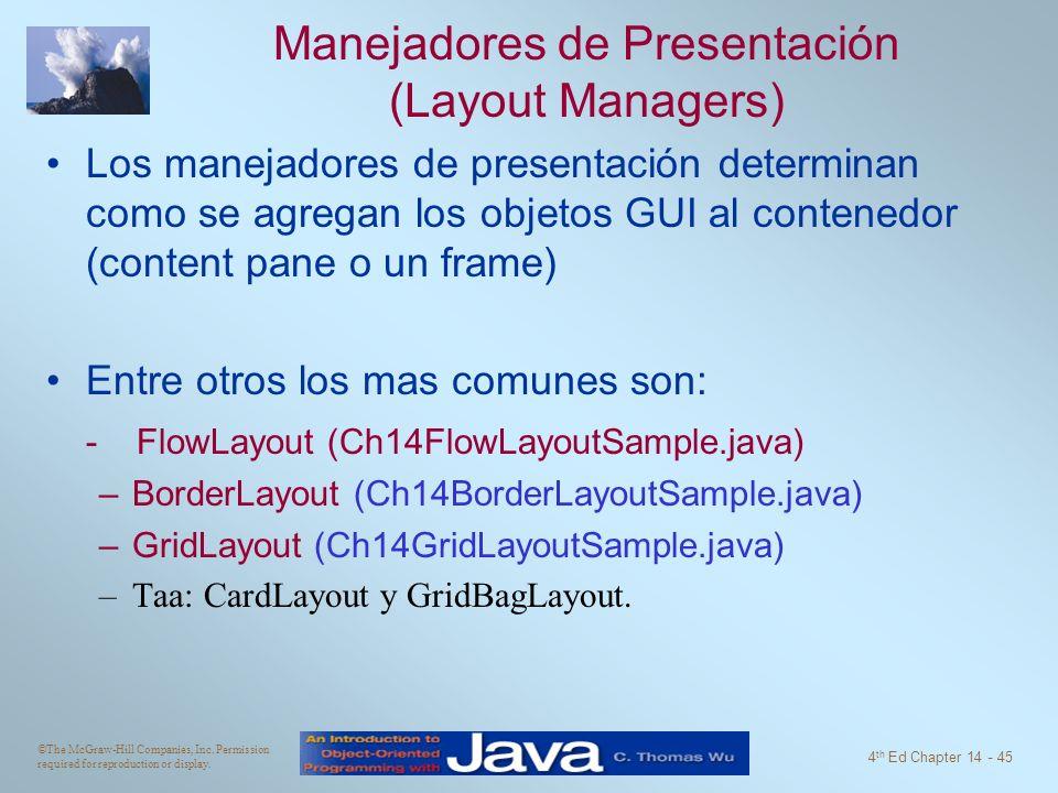 Manejadores de Presentación (Layout Managers)