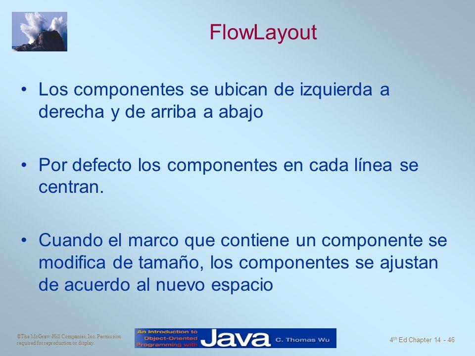 FlowLayout Los componentes se ubican de izquierda a derecha y de arriba a abajo. Por defecto los componentes en cada línea se centran.