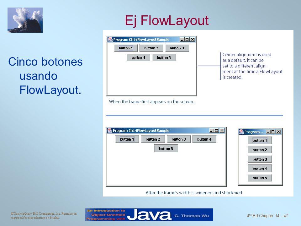 Ej FlowLayout Cinco botones usando FlowLayout.