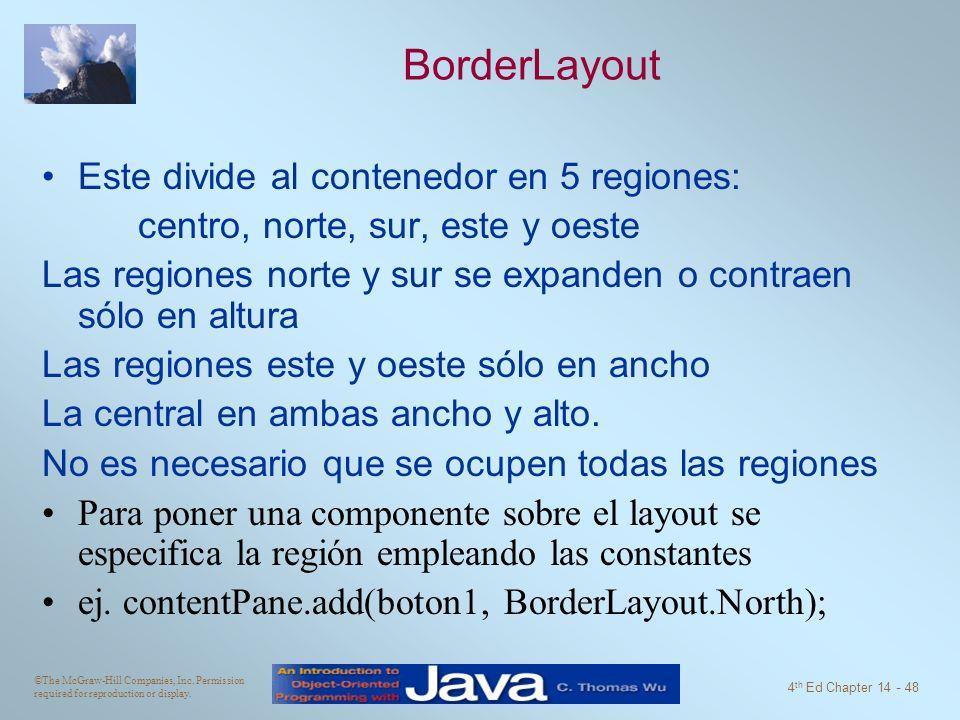BorderLayout Este divide al contenedor en 5 regiones: