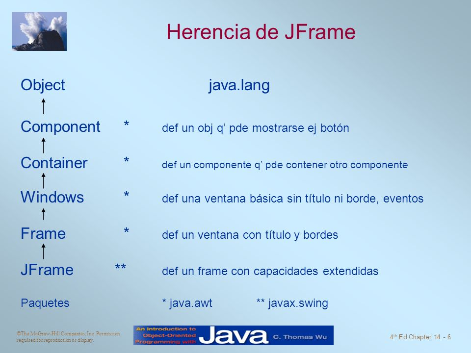 Herencia de JFrame Object java.lang