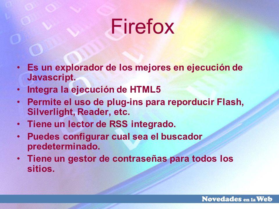 Firefox Es un explorador de los mejores en ejecución de Javascript.