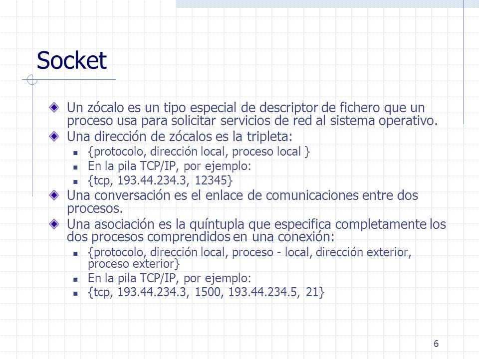 Socket Un zócalo es un tipo especial de descriptor de fichero que un proceso usa para solicitar servicios de red al sistema operativo.