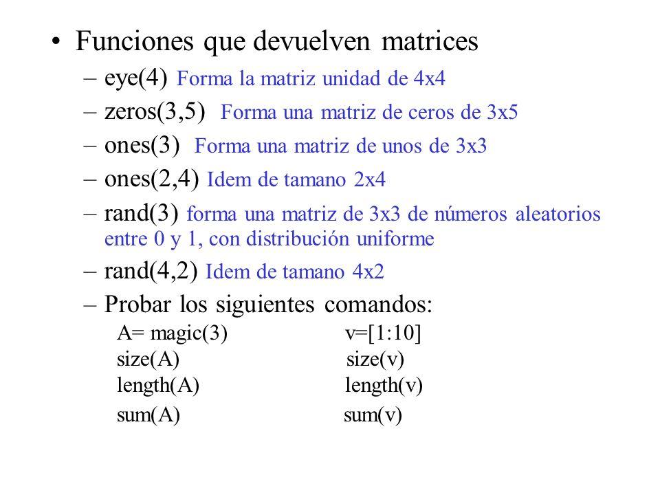 Funciones que devuelven matrices