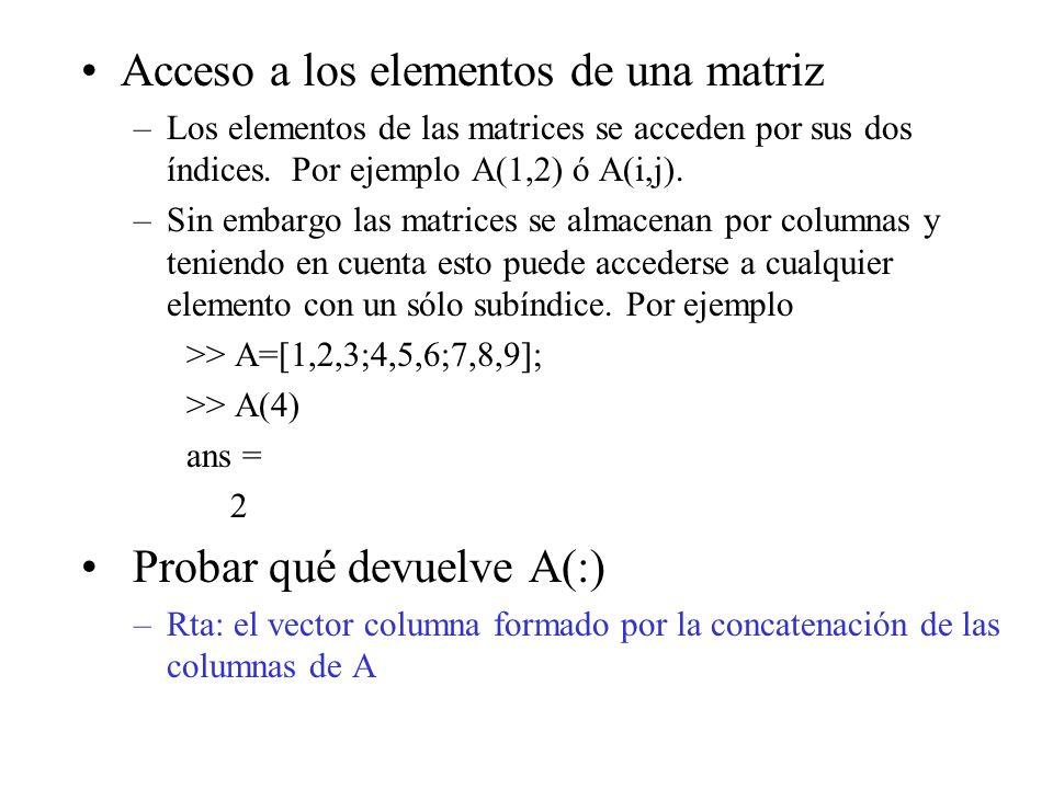 Acceso a los elementos de una matriz
