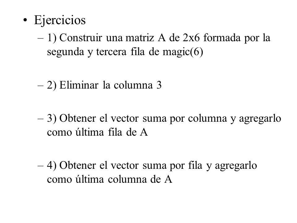 Ejercicios 1) Construir una matriz A de 2x6 formada por la segunda y tercera fila de magic(6) 2) Eliminar la columna 3.