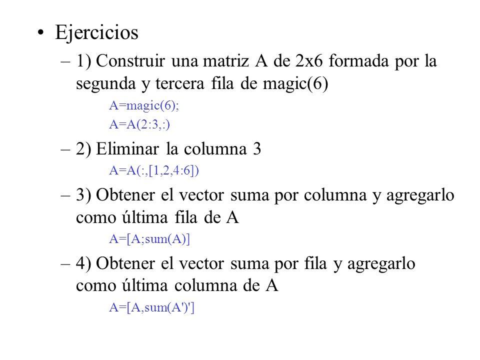 Ejercicios 1) Construir una matriz A de 2x6 formada por la segunda y tercera fila de magic(6) A=magic(6);