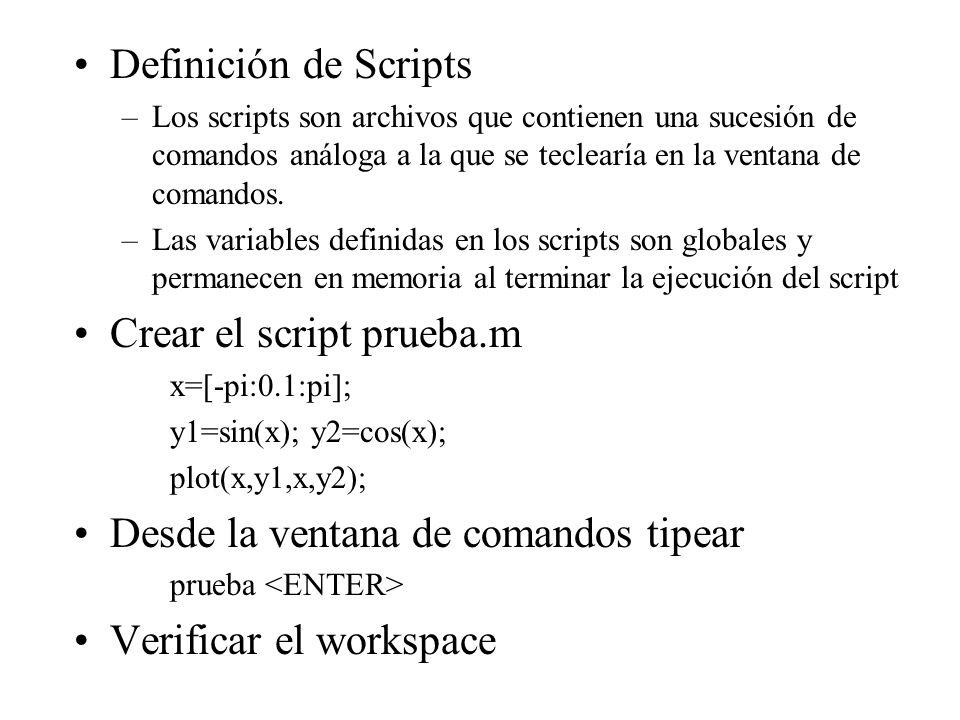 Crear el script prueba.m