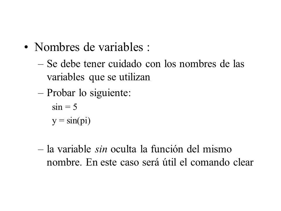 Nombres de variables : Se debe tener cuidado con los nombres de las variables que se utilizan. Probar lo siguiente: