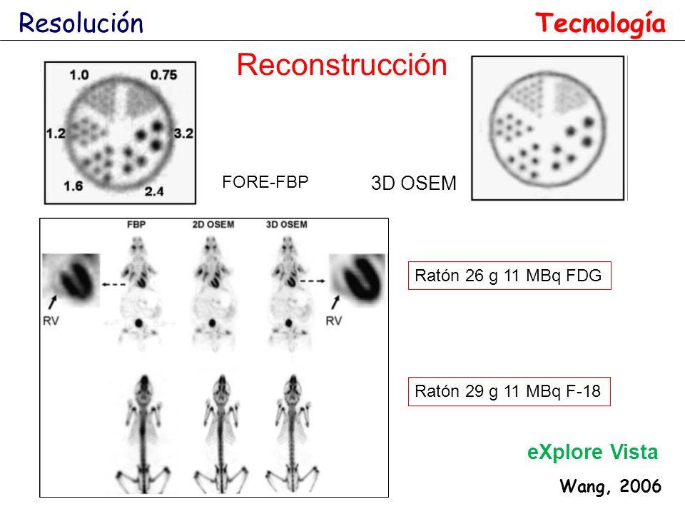 Reconstrucción Resolución Tecnología eXplore Vista 3D OSEM FORE-FBP