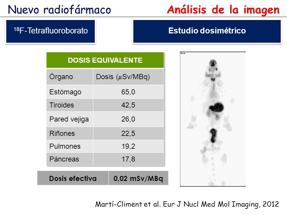 Nuevo radiofármaco Análisis de la imagen 18F-Tetrafluoroborato