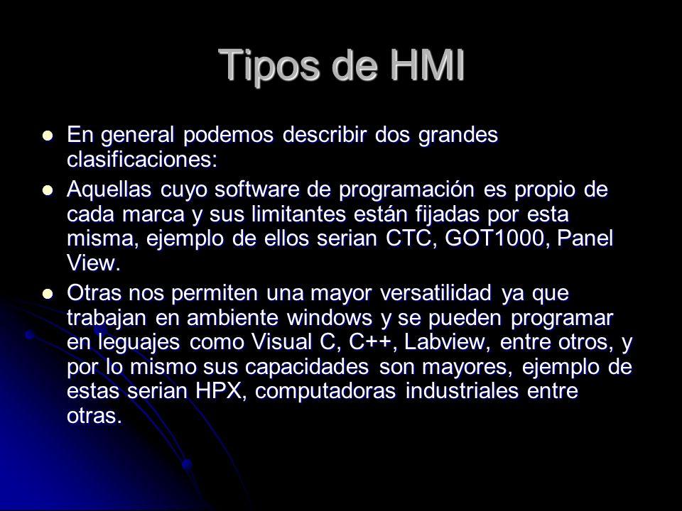 Tipos de HMI En general podemos describir dos grandes clasificaciones: