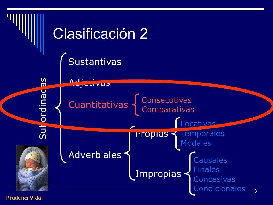 Clasificación 2 Sustantivas Adjetivas Subordinadas Cuantitativas
