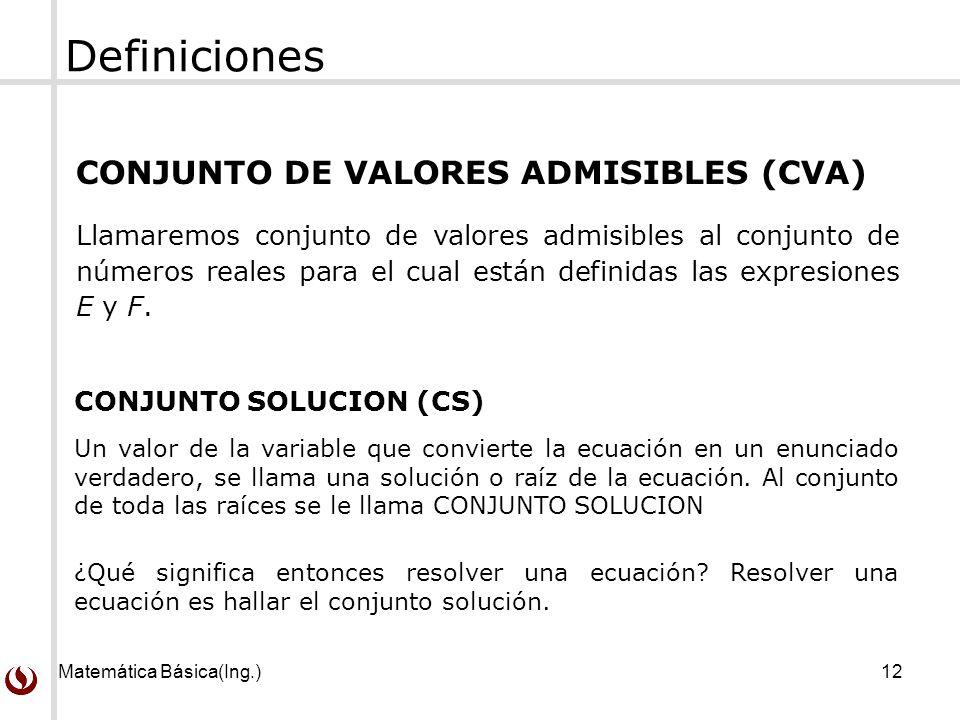 Definiciones CONJUNTO DE VALORES ADMISIBLES (CVA)