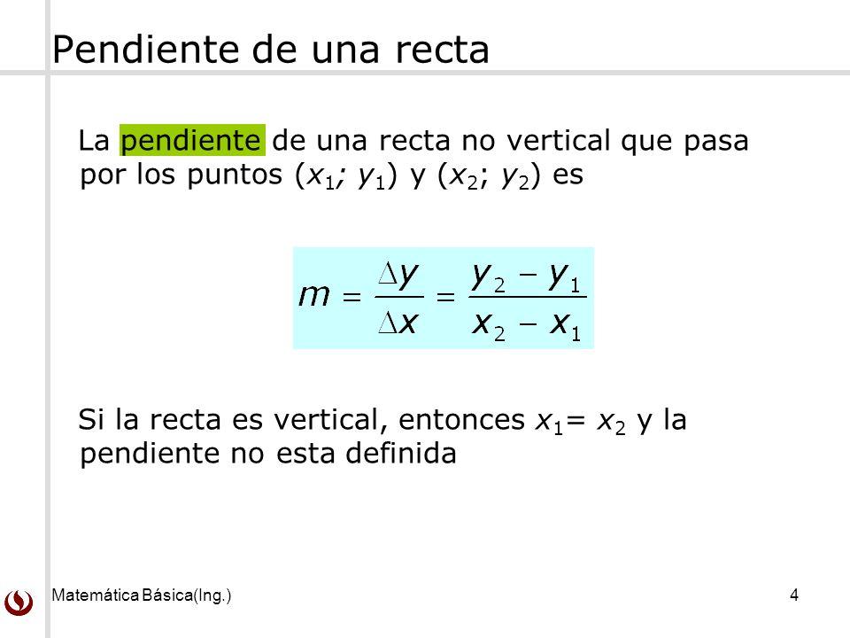 Pendiente de una recta La pendiente de una recta no vertical que pasa por los puntos (x1; y1) y (x2; y2) es.