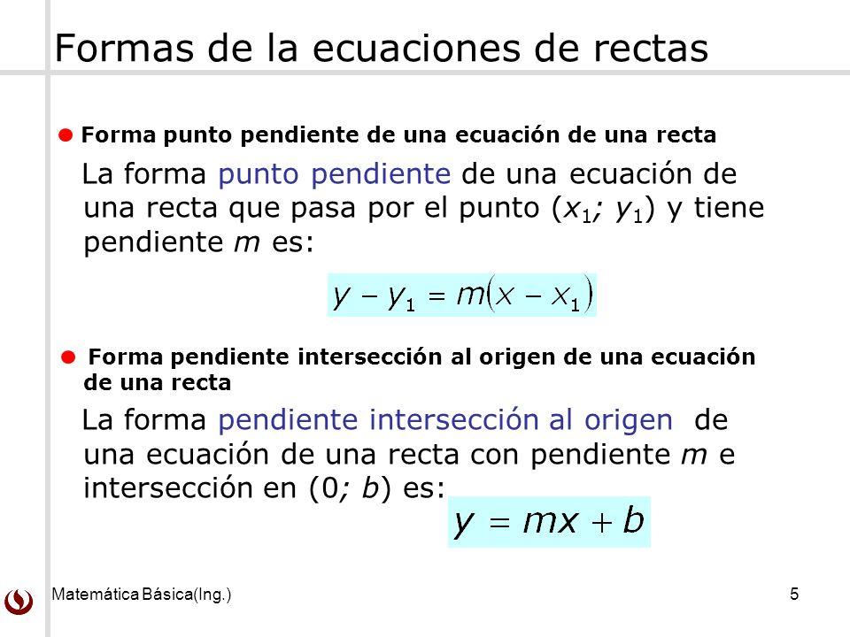 Formas de la ecuaciones de rectas