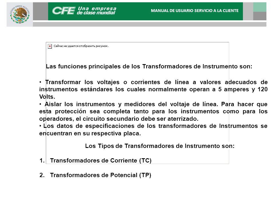 Las funciones principales de los Transformadores de Instrumento son: