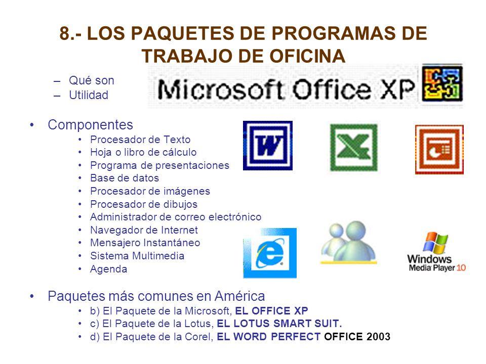8.- LOS PAQUETES DE PROGRAMAS DE TRABAJO DE OFICINA