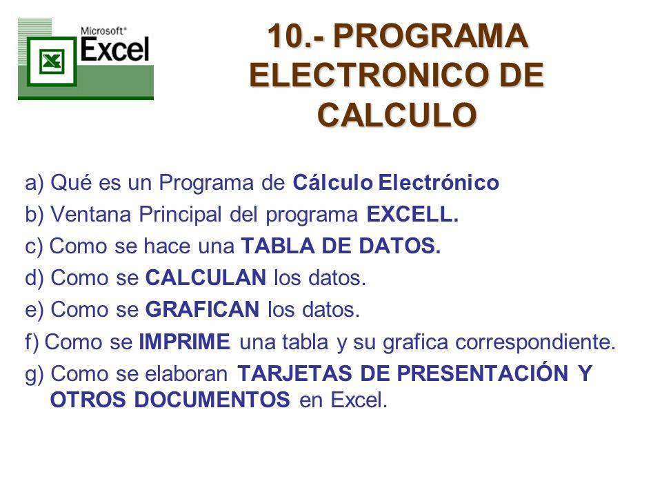 10.- PROGRAMA ELECTRONICO DE CALCULO