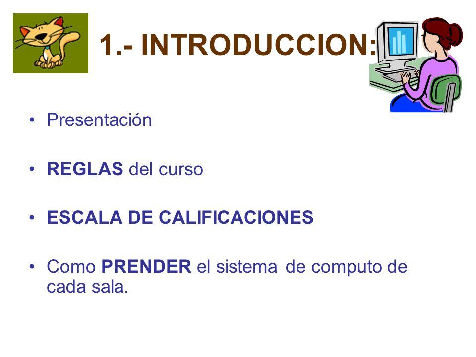 1.- INTRODUCCION: Presentación REGLAS del curso