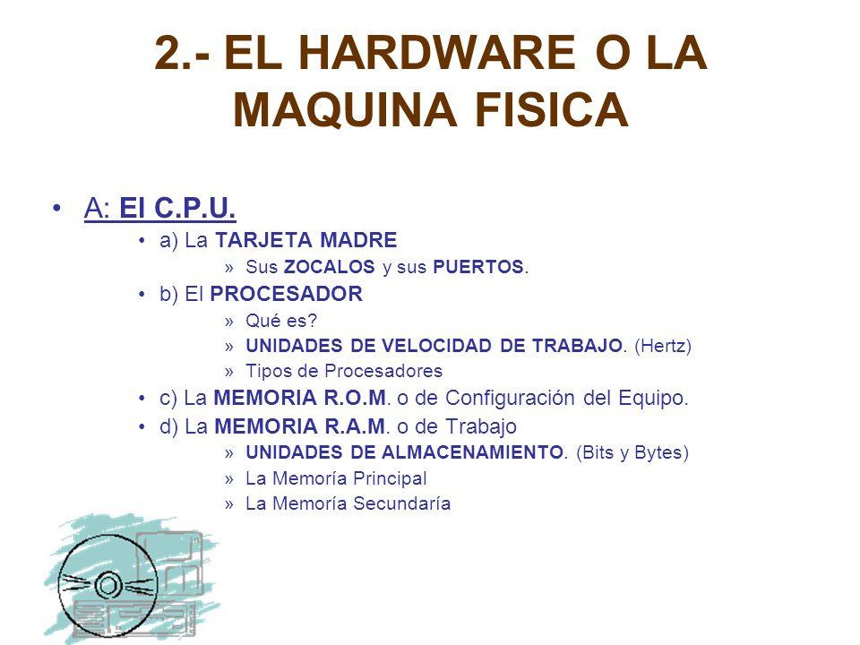 2.- EL HARDWARE O LA MAQUINA FISICA