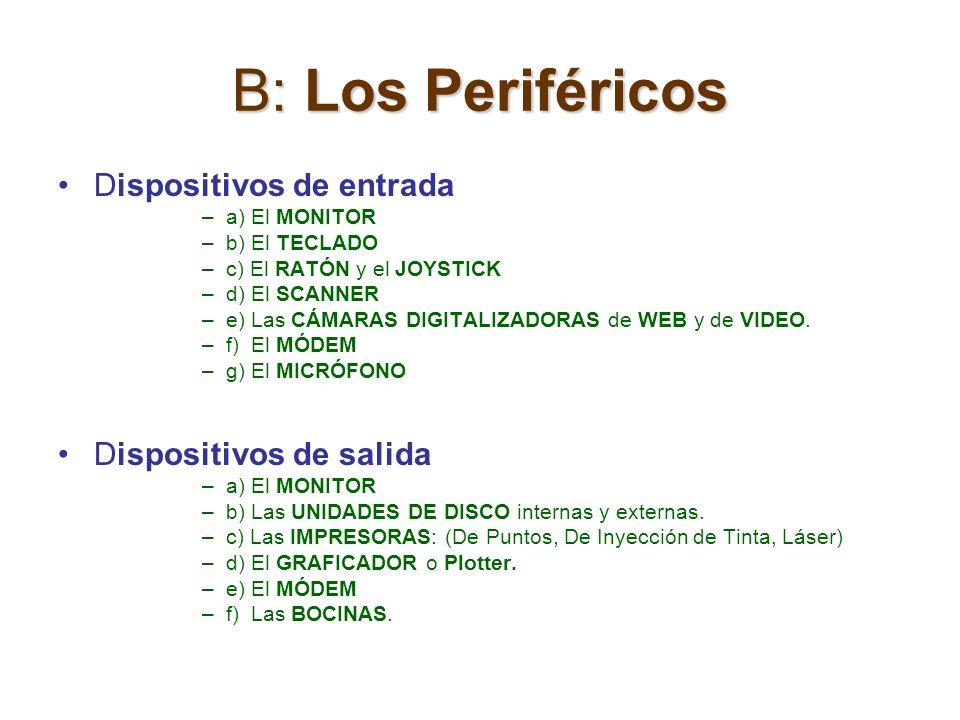 B: Los Periféricos Dispositivos de entrada Dispositivos de salida