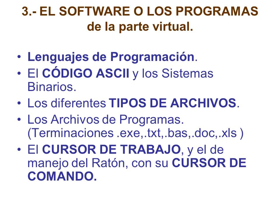 3.- EL SOFTWARE O LOS PROGRAMAS de la parte virtual.