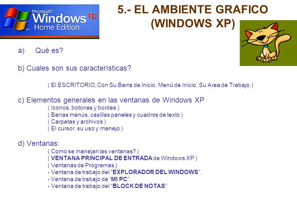 5.- EL AMBIENTE GRAFICO (WINDOWS XP)