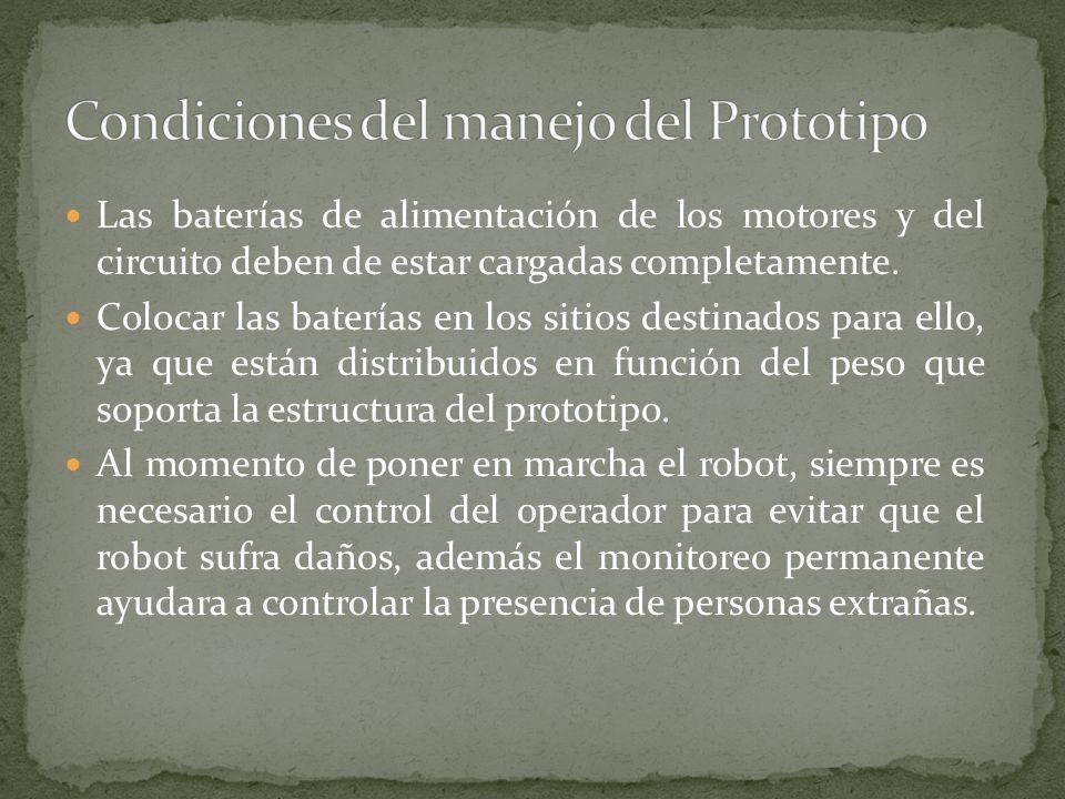 Condiciones del manejo del Prototipo