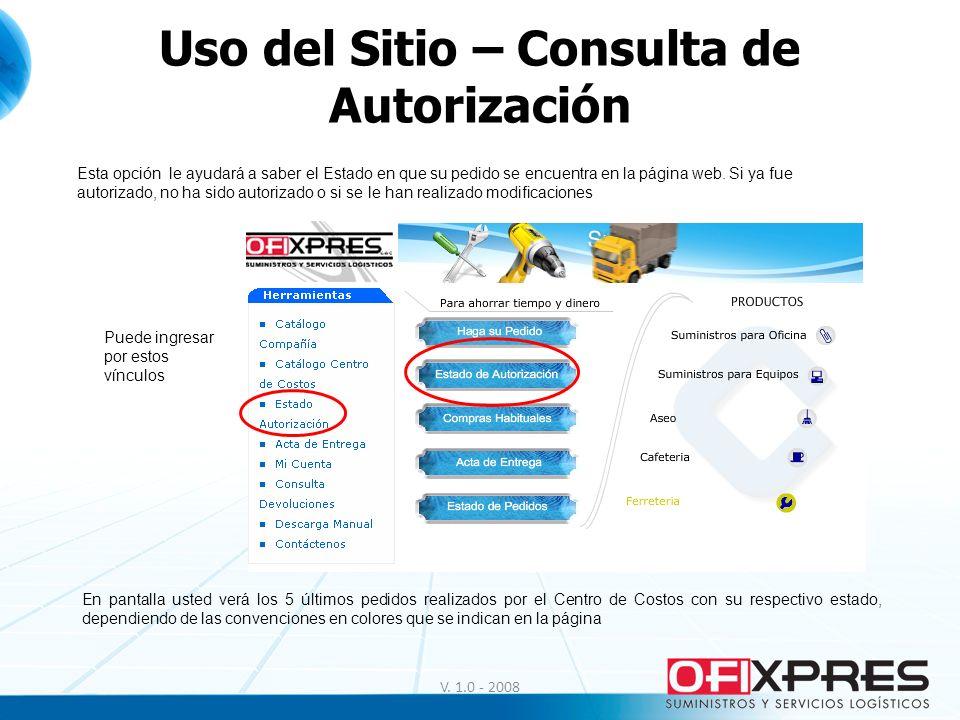 Uso del Sitio – Consulta de Autorización
