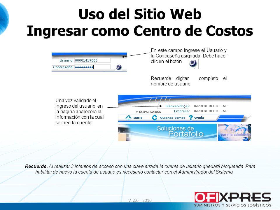 Uso del Sitio Web Ingresar como Centro de Costos