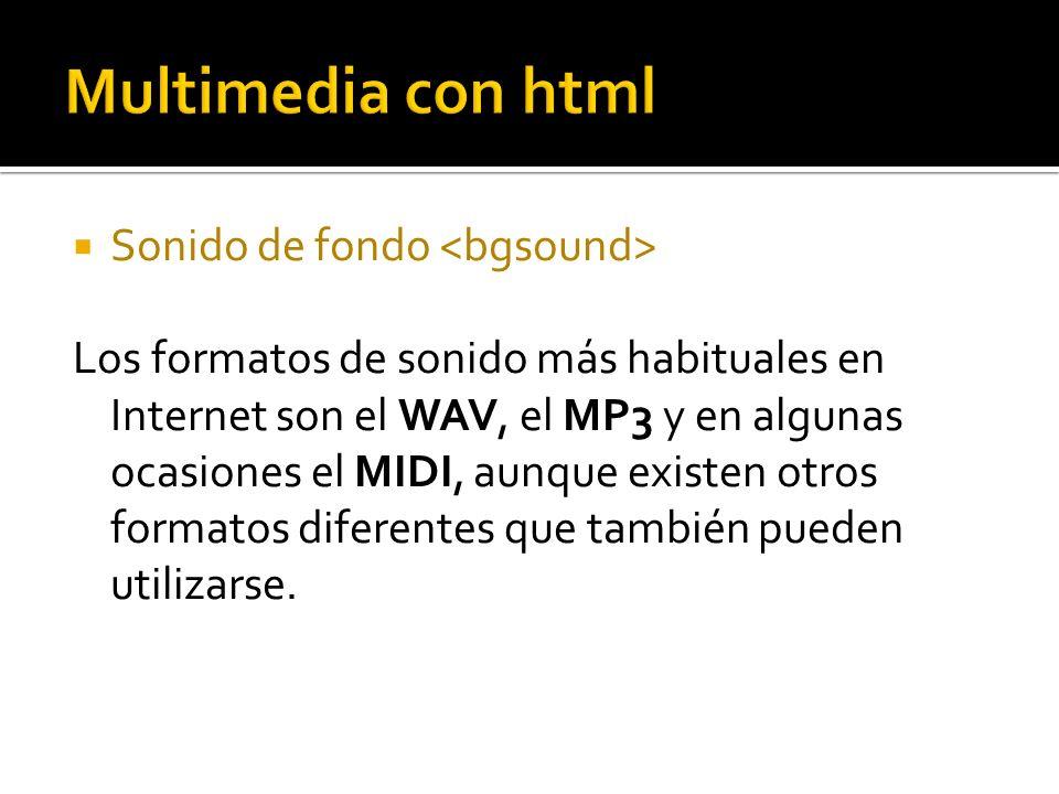 Multimedia con html Sonido de fondo <bgsound>