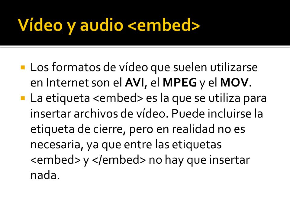 Vídeo y audio <embed>