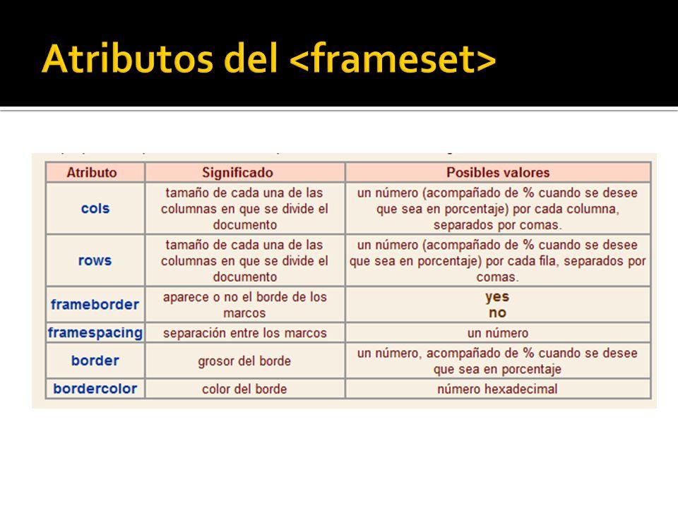 Atributos del <frameset>