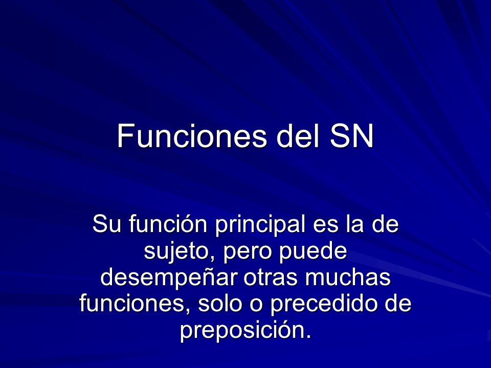 Funciones del SNSu función principal es la de sujeto, pero puede desempeñar otras muchas funciones, solo o precedido de preposición.