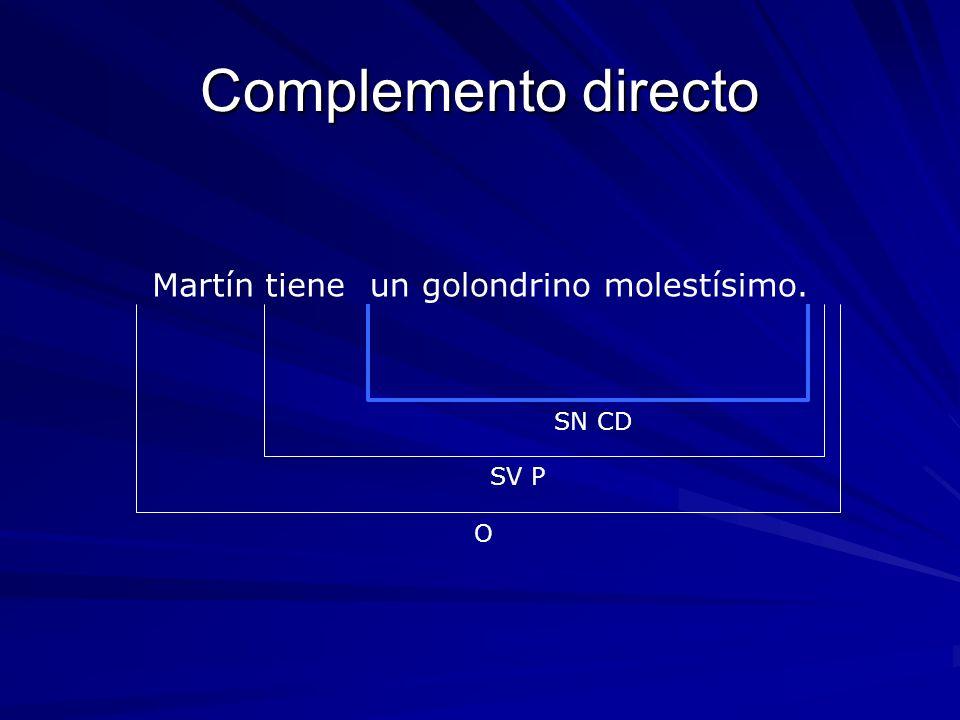Complemento directo Martín tiene un golondrino molestísimo. SN CD SV P