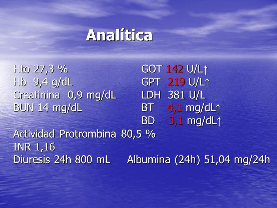 Analítica Hto 27,3 % GOT 142 U/L↑ Hb 9,4 g/dL GPT 219 U/L↑