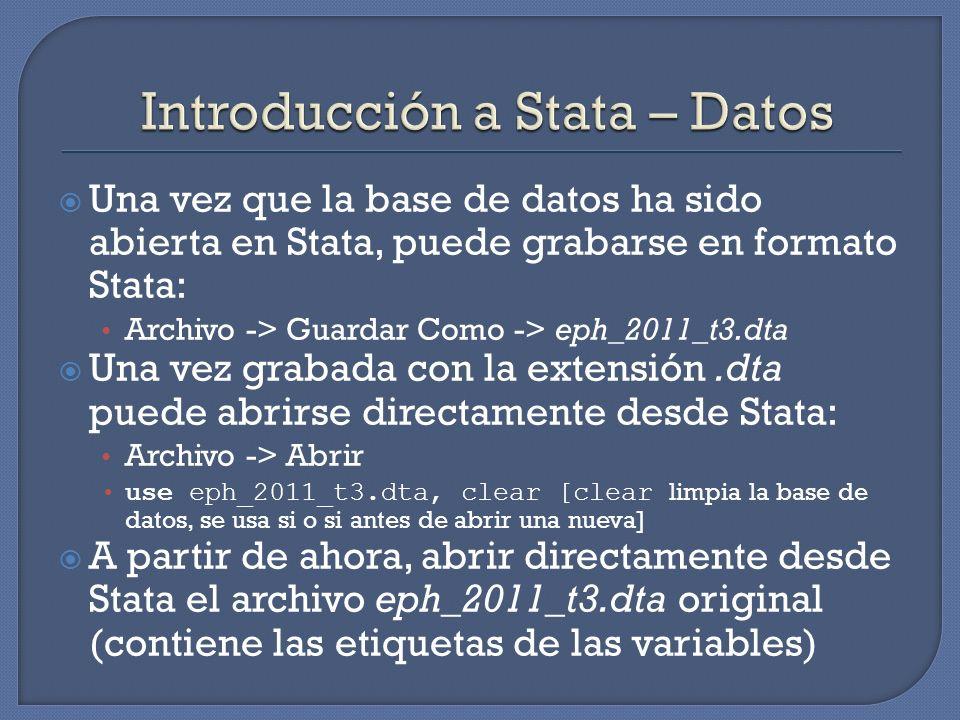 Introducción a Stata – Datos
