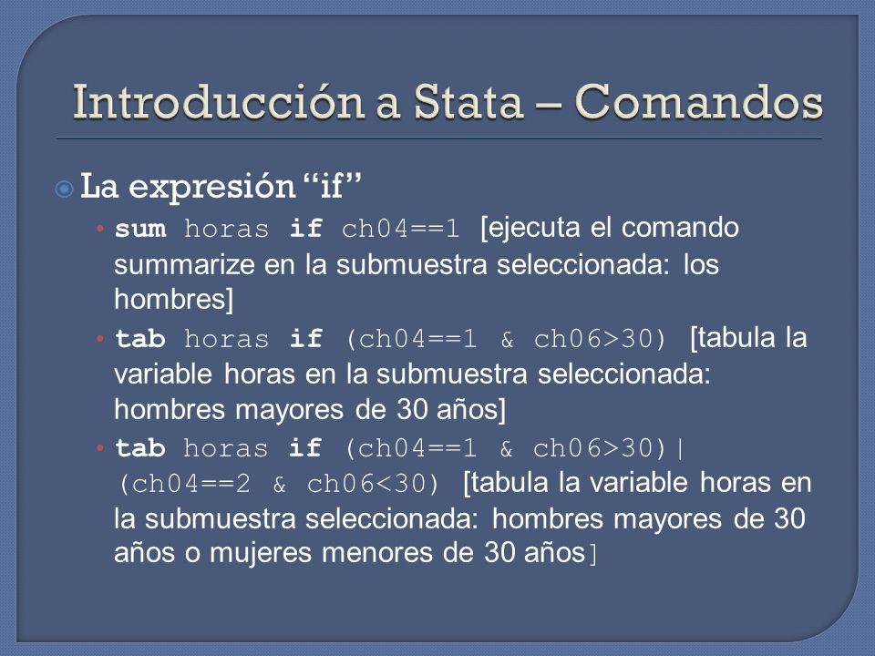 Introducción a Stata – Comandos
