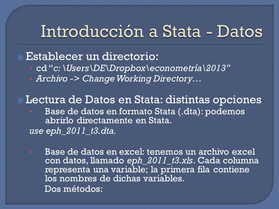 Introducción a Stata - Datos