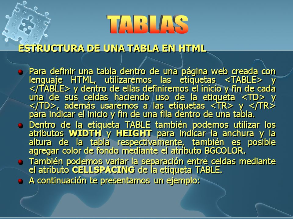 TABLAS ESTRUCTURA DE UNA TABLA EN HTML