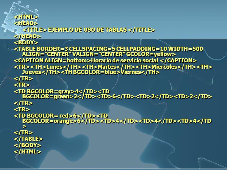 <HTML> <HEAD> <TITLE> EJEMPLO DE USO DE TABLAS </TITLE> </HEAD> <BODY>