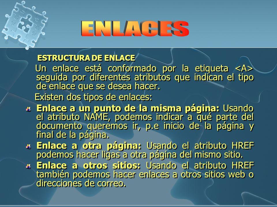 ENLACES Existen dos tipos de enlaces: