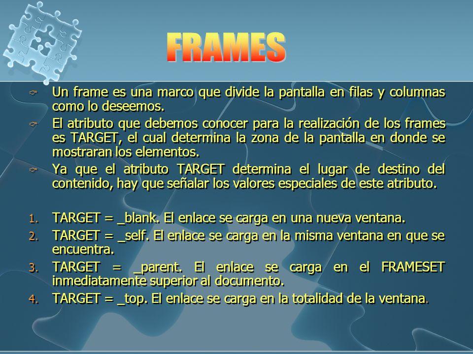 FRAMES Un frame es una marco que divide la pantalla en filas y columnas como lo deseemos.