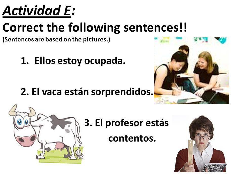Actividad E: Correct the following sentences