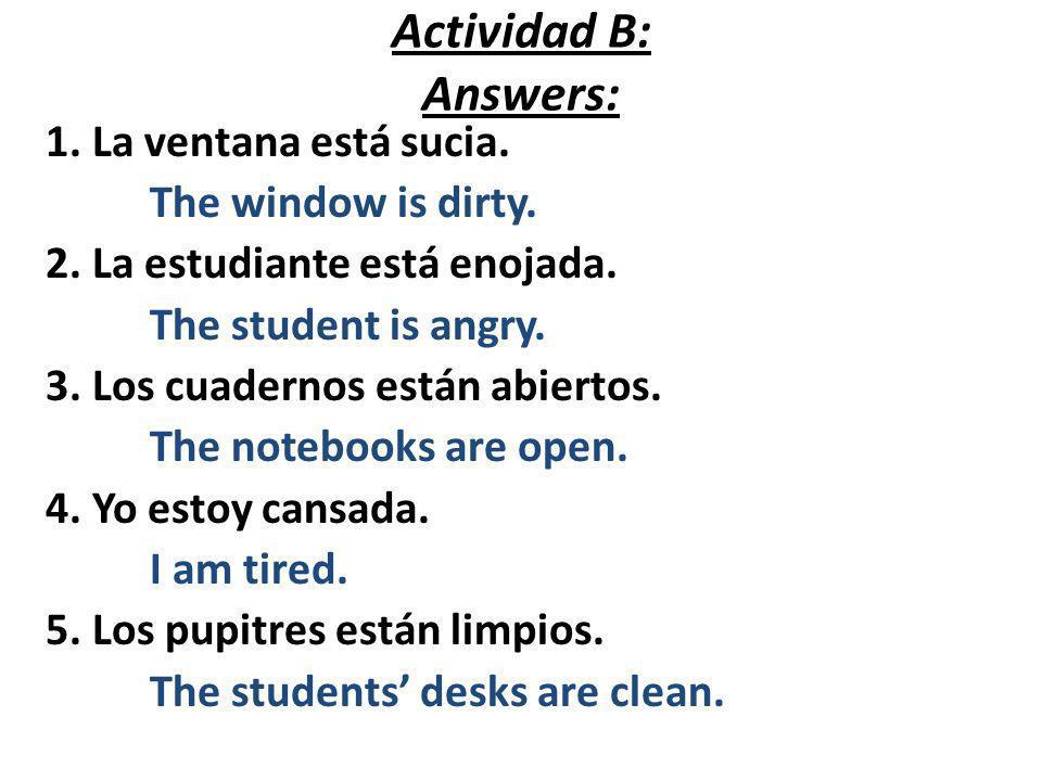 Actividad B: Answers: