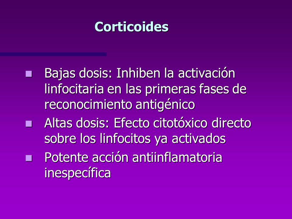 Corticoides Bajas dosis: Inhiben la activación linfocitaria en las primeras fases de reconocimiento antigénico.