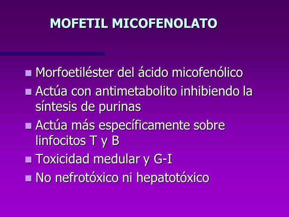MOFETIL MICOFENOLATO Morfoetiléster del ácido micofenólico. Actúa con antimetabolito inhibiendo la síntesis de purinas.