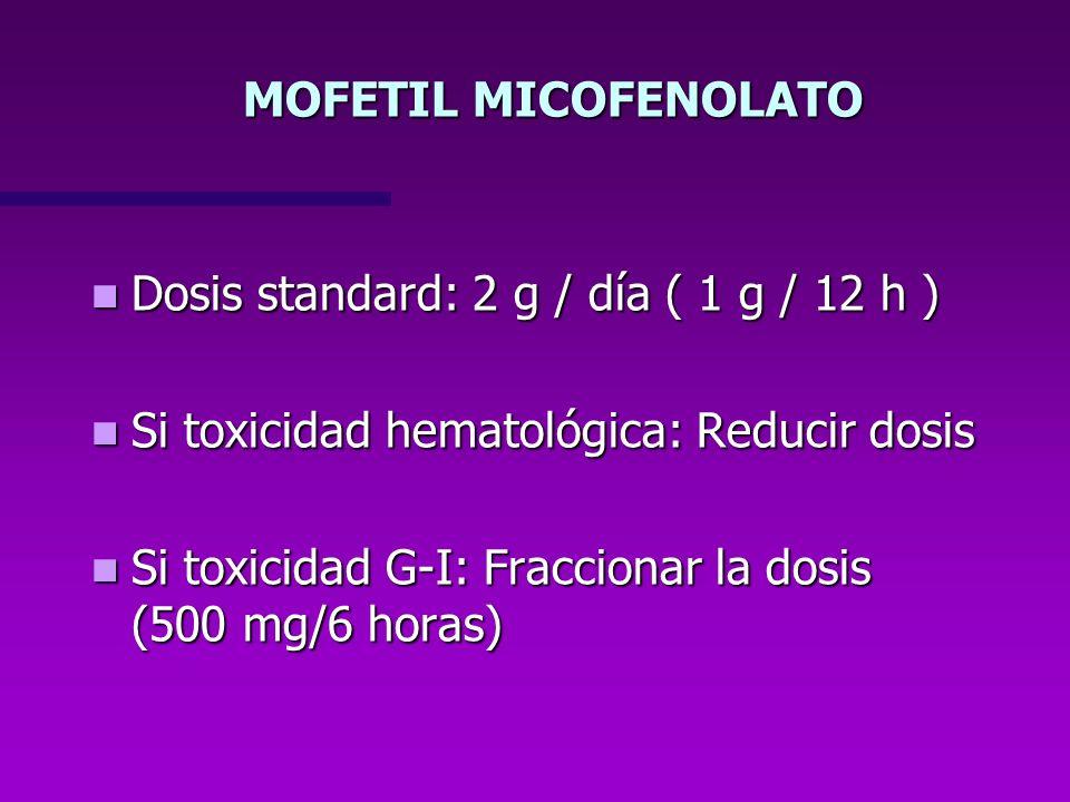 MOFETIL MICOFENOLATO Dosis standard: 2 g / día ( 1 g / 12 h ) Si toxicidad hematológica: Reducir dosis.