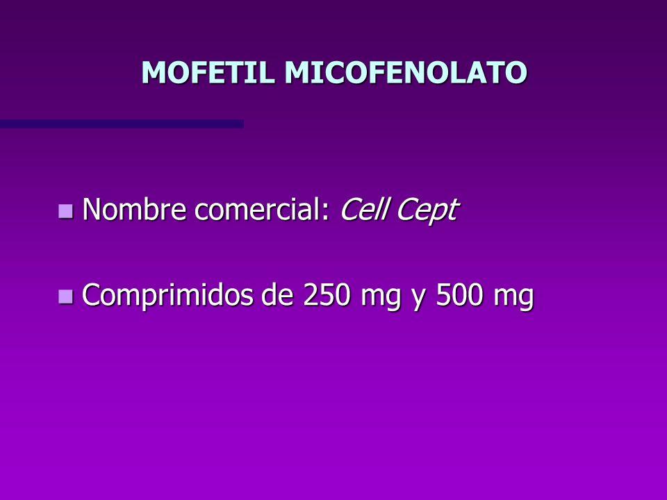MOFETIL MICOFENOLATO Nombre comercial: Cell Cept Comprimidos de 250 mg y 500 mg